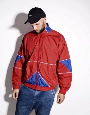 90s unisex track top wind jacket red