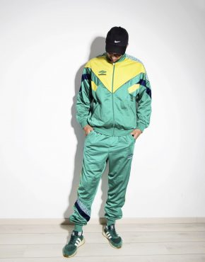 UMBRO 90s mens tracksuit set green yellow