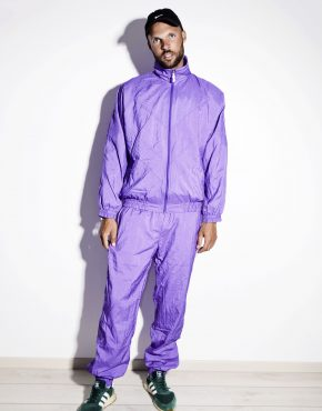 80s vintage purple nylon tracksuit set for men