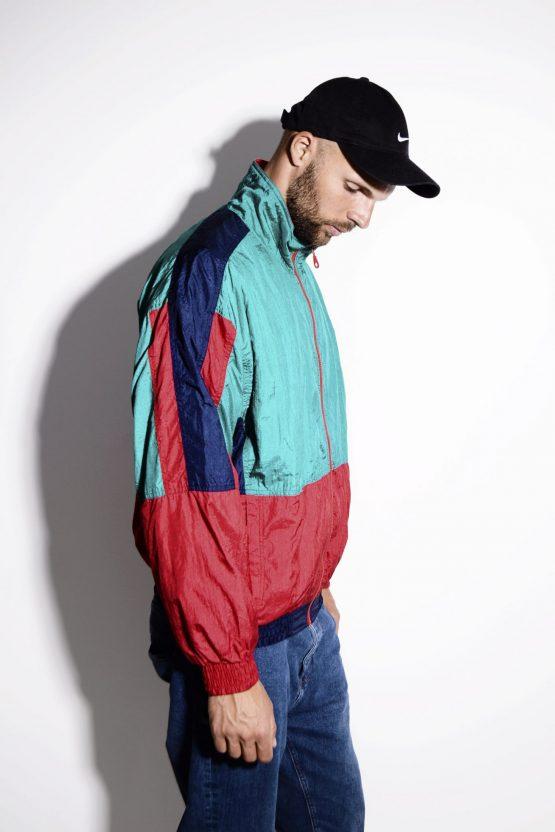 Vintage 90s windbreaker nylon jacket multi color unisex