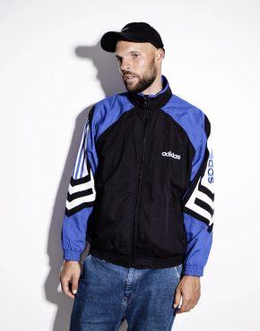 1990s ADIDAS unisex track top wind shell jacket black blue