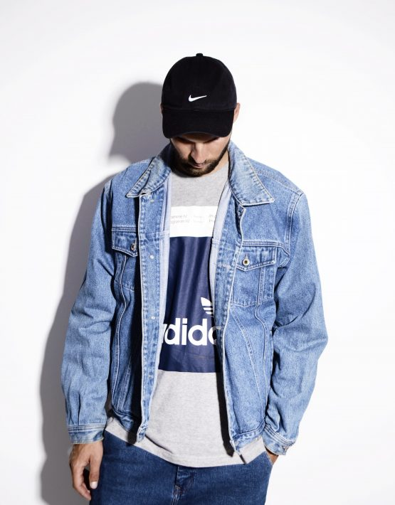 Mens denim jacket in mid wash blue