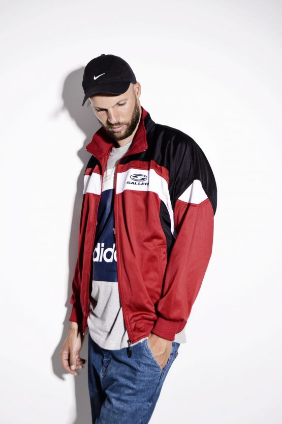 Vintage unisex red tracksuit top sports jacket by Saller