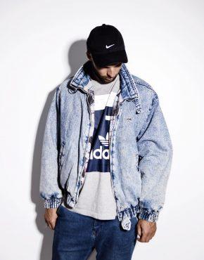 Warm vintage denim jacket for men