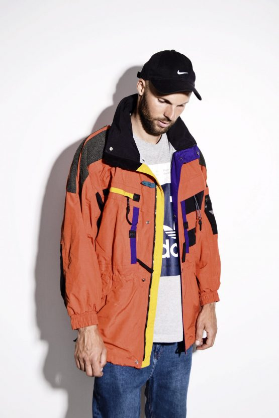 HELLY HANSEN long orange nylon parka jacket coat