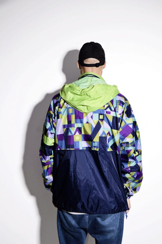 Vintage rave nylon hooded shell pullover