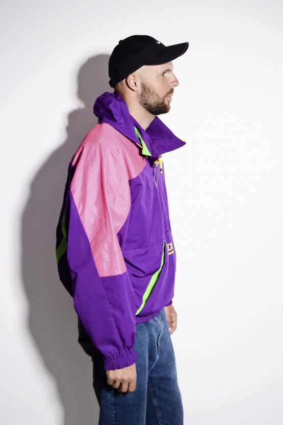 1990s vintage multi color crazy shell half zip pullover jacket