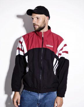Old School ADIDAS black & red color block track top jacket