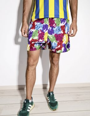 Vintage abstract board nylon shorts mens