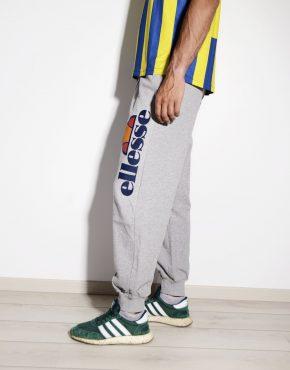 ELLESSE men's sweatpants joggers in grey with big printed logo