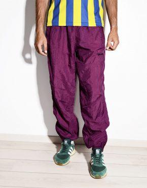 80s vintage mens festival maroon color nylon shell pants