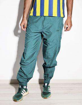 80s vintage mens nylon shell pants in green