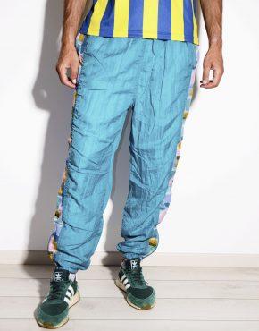 90s vintage festival nylon shell pants in blue