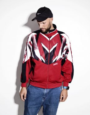Vintage men's red tracksuit top sports jacket by JAKO