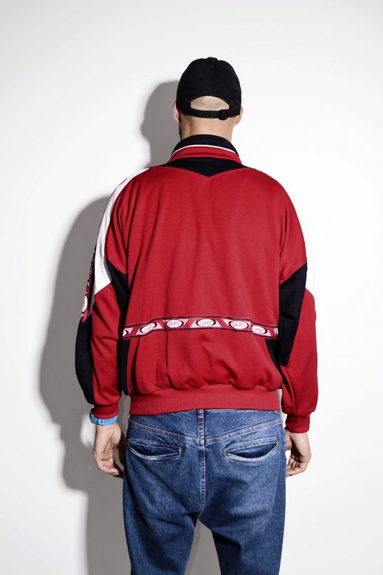 Vintage men's red tracksuit top sports jacket by JAKO
