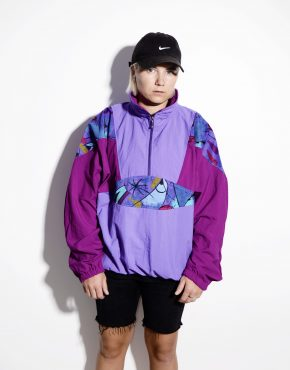 1990s vintage multi color crazy shell half zip pullover jacket