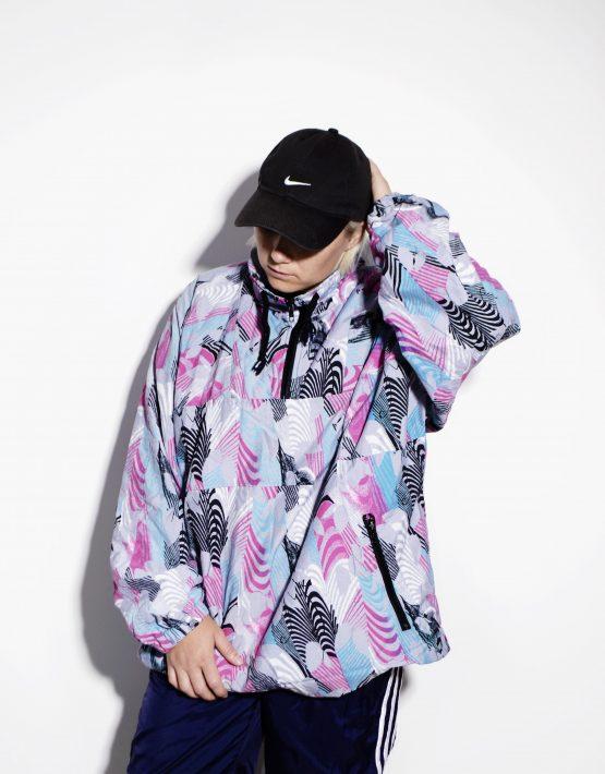 1990s vintage multi color crazy shell 1/4 zip pullover ski jacket