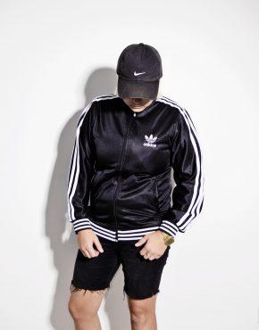 Adidas Originals retro 70's style track jacket in black