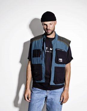 90s multi pocket utility shell vest