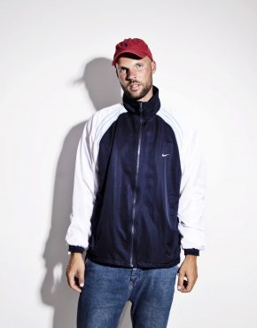 NIKE vintage mens lightweight jacket blue white