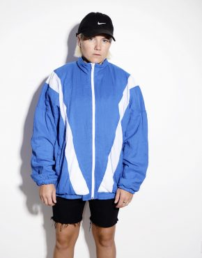 Retro 80s windbreaker shell jacket in blue & white color