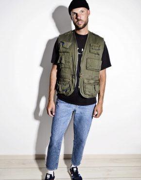 90s men utility cargo vest