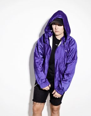 FILA lightweight purple hooded shell jacket