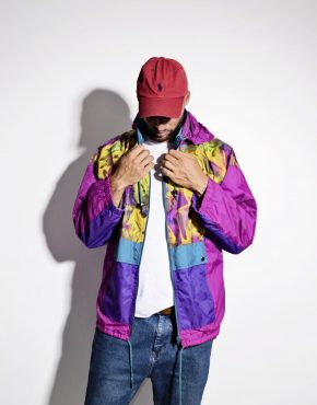 90s vintage multi colour crazy hooded shell jacket