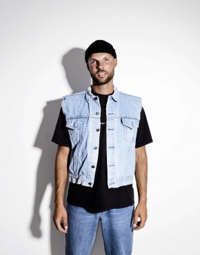 Vintage men retro denim vest