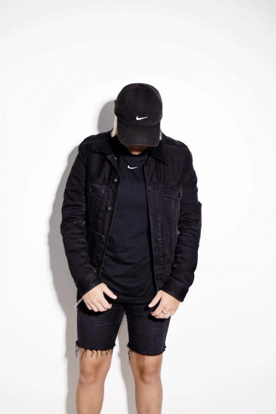 Vintage warm winter denim jacket black