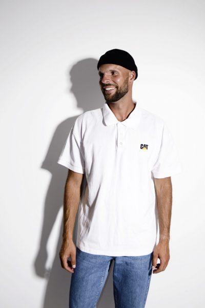 Men's CAT polo shirt white