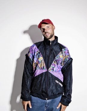 Vintage windbreaker color block jacket mens