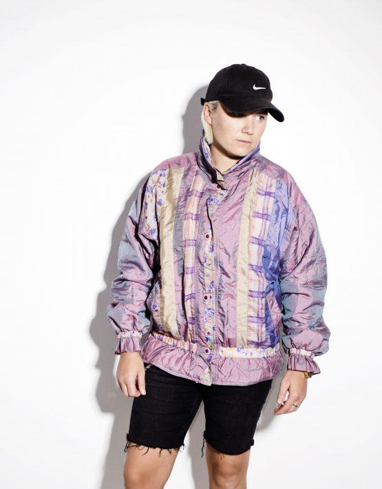 Retro 80s multi perlamuter rave shell jacket ladies