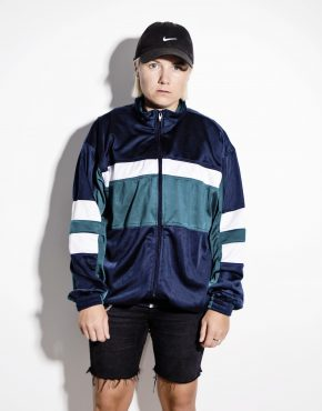 Retro sport 80s jacket unisex in blue green white color block