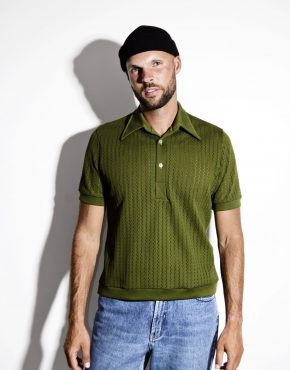 Retro 1960's green polo shirt men's