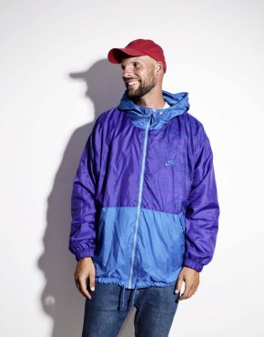 NIKE vintage hooded jacket purple blue