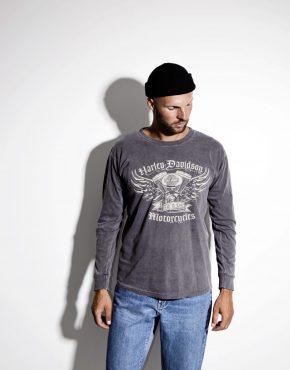 HARLEY DAVIDSON gray cotton men's long sleeve t-shirt