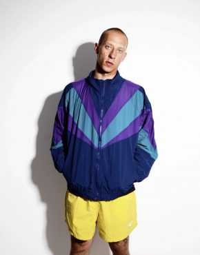 Retro color block jacket blue XL