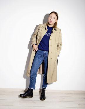 Classic vintage 90s beige trench coat women