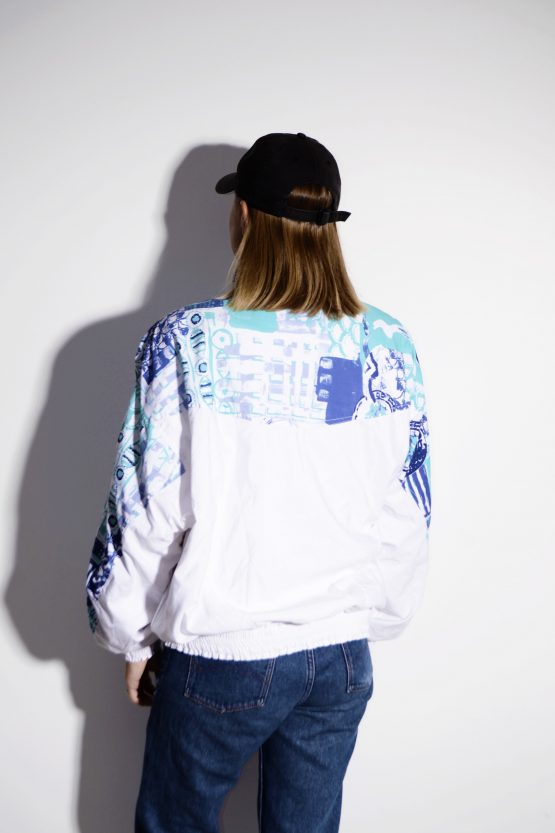 Vintage abstract windbreaker jacket white
