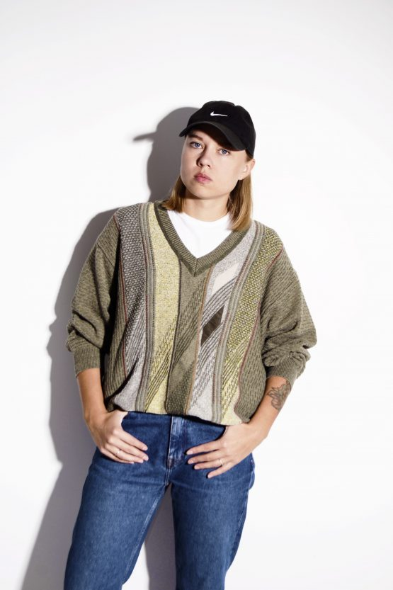80s vintage sweater khaki olive unisex