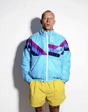 NIKE retro nylon jacket multi blue Medium