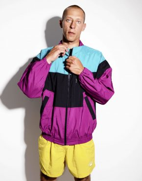 Vintage color block windbreaker multi purple large