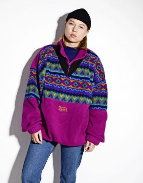 80's retro warm multi colour 1/4 zip ski pullover
