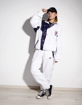 NIKE 80s vintage tracksuit set in white color