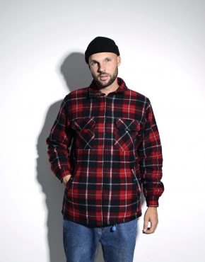 Vintage warm plaid checked men's flannel jacket
