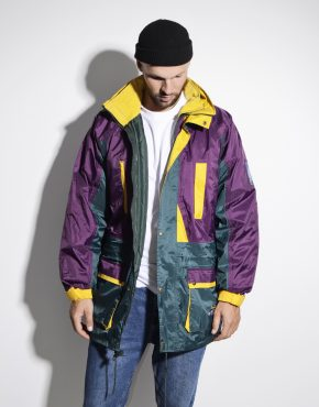 Retro multi warm padded hooded parka anorak ski jacket