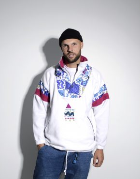 80s retro ski fleece jacket