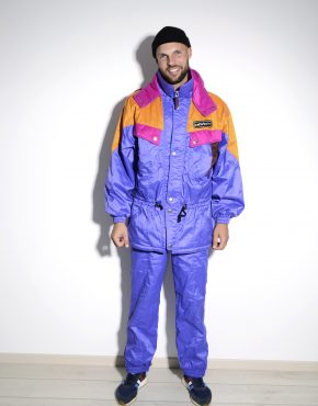 Retro winter ski suit set mens