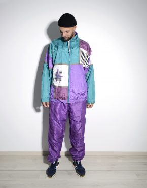 Vintage 90s men multi color block tracksuit set
